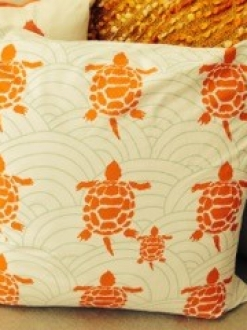 Orange Turtle Print Pillow