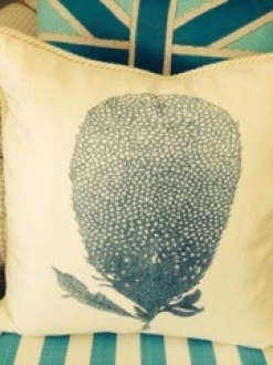 Blue Coral Print Pillow w/ Rope Edge